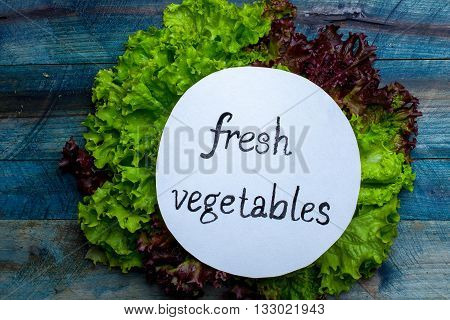 Fresh Salad Leaves With Note
