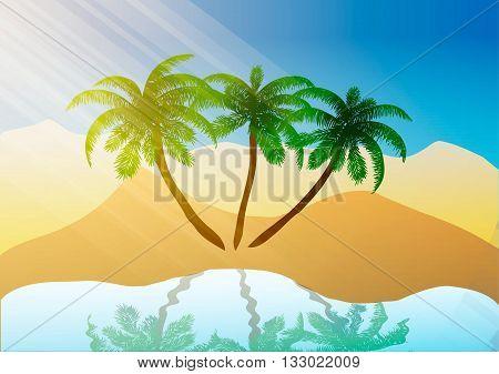 Vector illustration. Oasis in the desert sand.