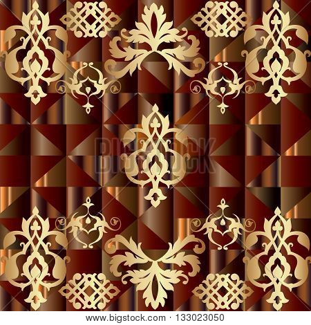 Abstract backround with vintage Persian ornament and geometric figures. Can be scaled to any size.