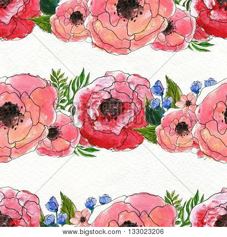 Seamless pattern with briar roses. Floral seamless watercolor background. Horisontal rows of flowers seamless pattern. Hand-drawn illustration