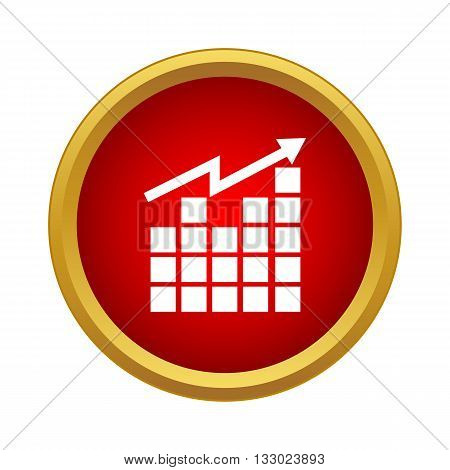 Growing graph icon in simple style isolated on white background