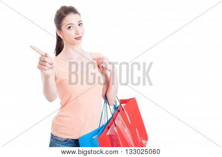 Young Lady Carrying Shopping Bags Showing Refusal Or Denial Gesture