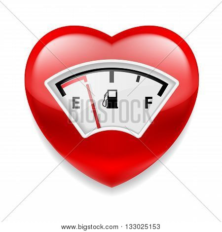 Glossy red heart with fuel indicator as symbol of health or love