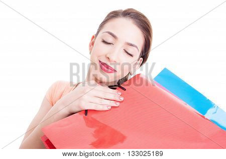 Beautiful Young Woman Feeling Pleased With Her Shopping Bags