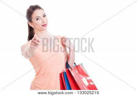 Young Shopping Lady Looking And Pointing Finger At Camera