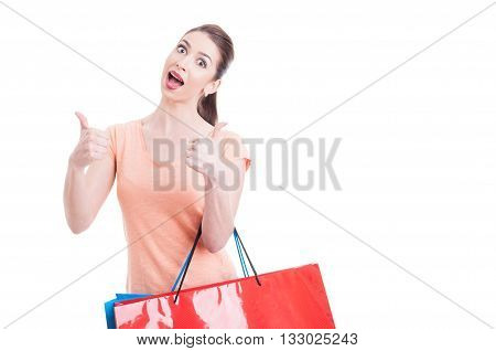 Excited Female Shopper Showing Thumbs-up
