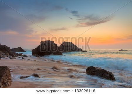 Rocky Sea Landscape at beautiful sundown time, Portugal, Europe