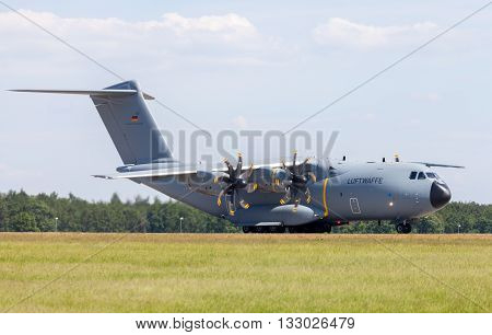 BERLIN / GERMANY - JUNE 3 2016: military Airbus A 400 M plane during the ILA in Berlin / Germany on June 3 2016.