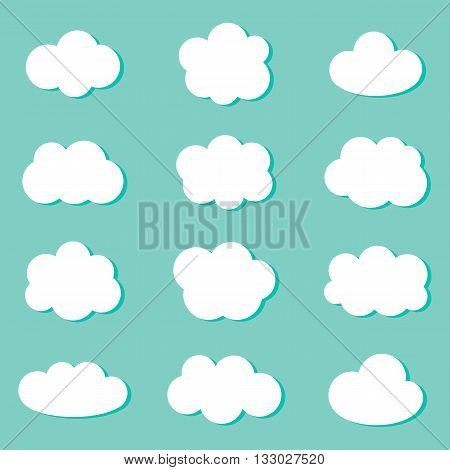 Flat design white cute cartoon clouds on mint green background. Cloud icons set, collection.