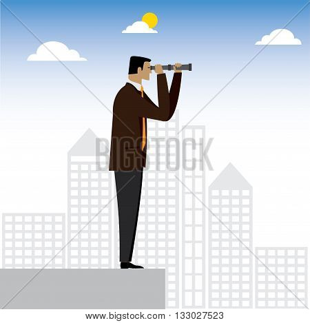 Visionary Businessman Or Executive Looking Through Binoculars - Vector Graphic