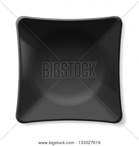 Illustration of empty black plate isolated on white background