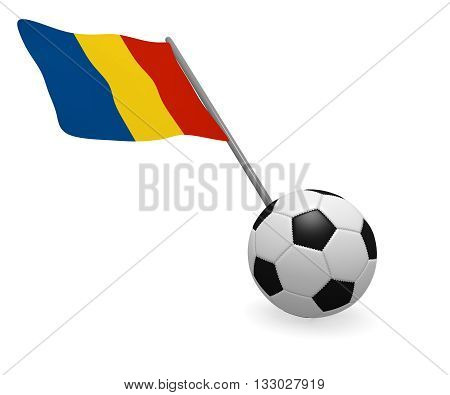 Soccer ball with the flag of Romania on a white background