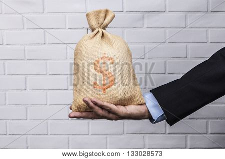 Sack On Hand Red Dollar