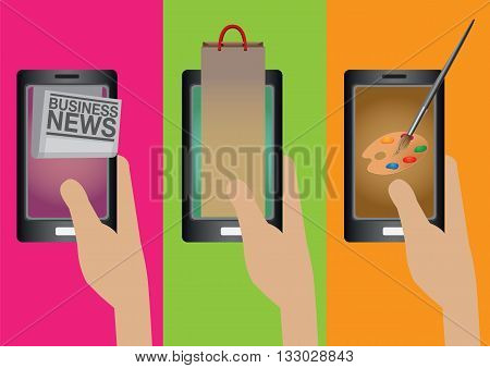 Hand holding smart phone with business news online shopping and digital painting applications. Creative vector cartoon illustration on smart phone technology concept isolated on plain colorful background.