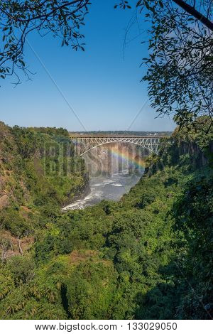 Rainbow Crossing Gorge Under Victoria Falls Bridge
