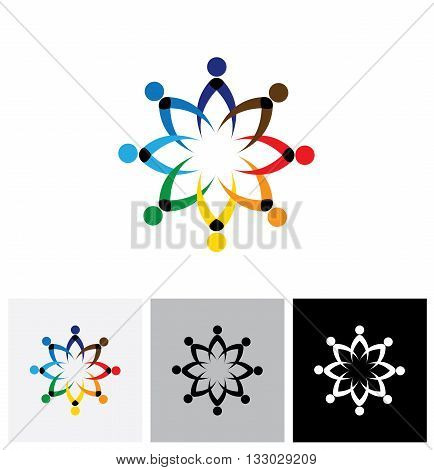 Colorful Office People Meeting Discussion, School Children Playing - Vector Icon