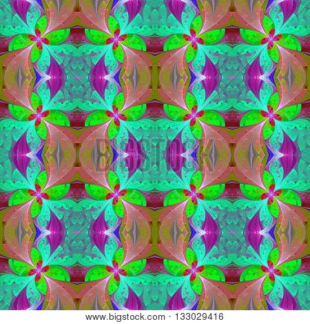 Multicolored beautiful symmetrical pattern in stained-glass window style. Artwork for creative design art and entertainment.