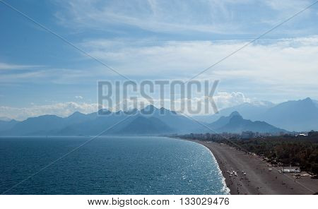 summer sea beach and beauty mountains background