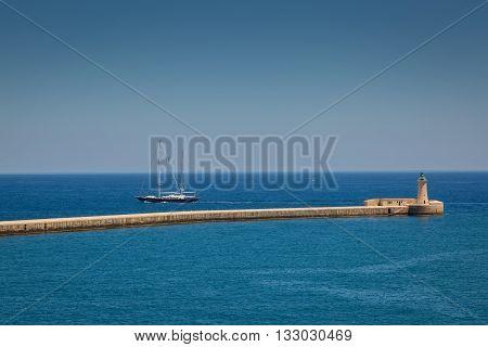 Valletta Malta - May 05 2016: Mouth of the Grand Harbor in Valletta on the Malta island.