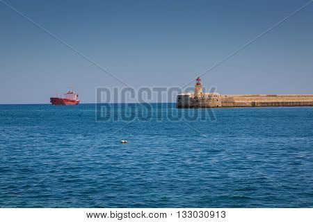 Valletta Malta - May 05 2016: Ricasoli East Breakwater in Valletta