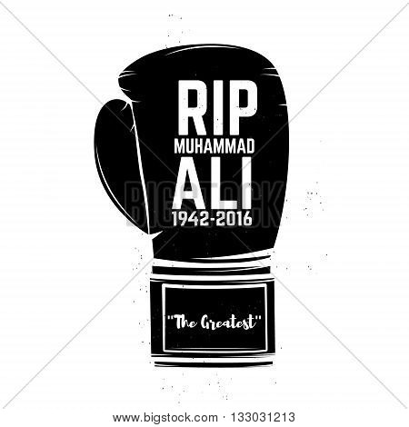 Rip Muhammad Ali. Boxing gloves isolated on white background. Design element in vector.