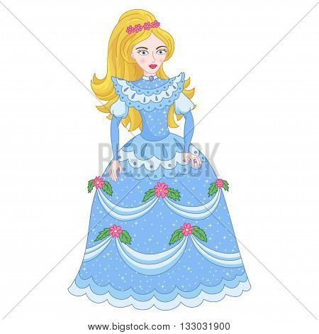 Illustration of beautiful golden blonde princess, cute princess in shine elegant cyan dress with spangles, vector illustration
