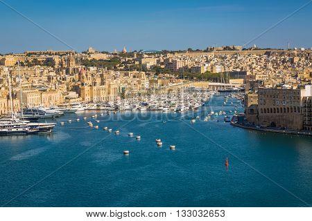 Valletta Malta - May 05 2016: View of the port Tricity Senglea Cospicua and Vittoriosa on the Malta island.