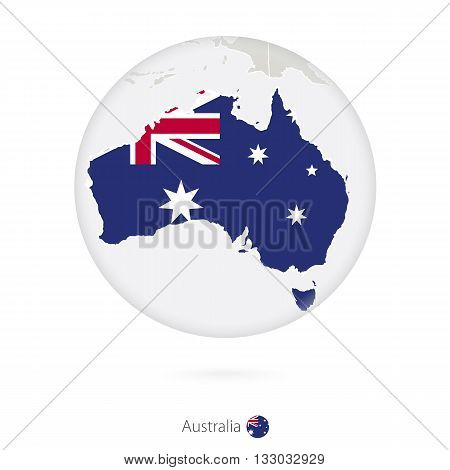 Map Of Australia And National Flag In A Circle.