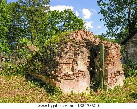 Minsk, Belarus - May 31, 2016 :  Family crypt destroyed on Kalvaryja cemetery