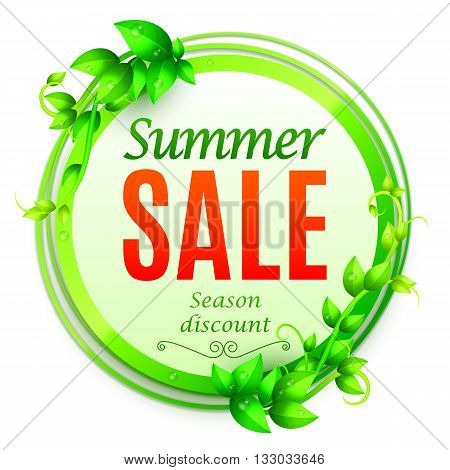 Summer sale banner decorated with fresh green leaves