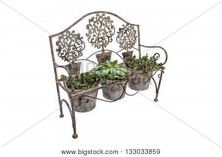 High Side View Of  Ornate Rusted Wrought  Iron Bench