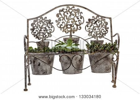 Front View Of Isolated Vintage Rusted Wrought Iiron Bench