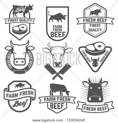 Set of fresh beef labels. Butchery shop emblems. Design elements for labels badges emblems signs. Vector illustration.