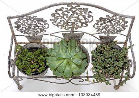 Overview Of Vintage Rusted Ornamental Wrought  Iron Bench