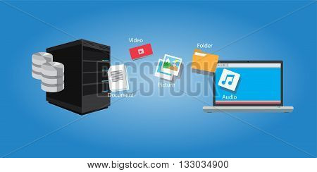 file transfer copy document and media symbol illustration sync