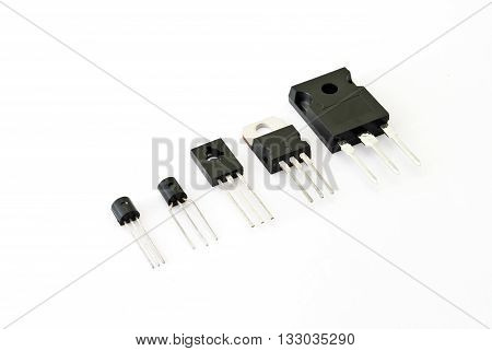 Various kinds of transistors on the white background
