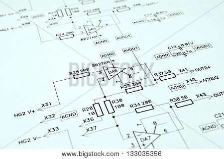 Close-up photo of the analog electronic schematic
