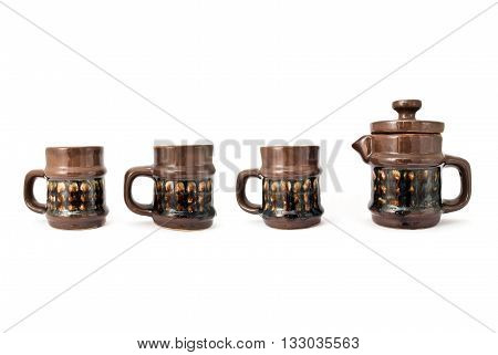 Porcelain Kettle And Three Cups