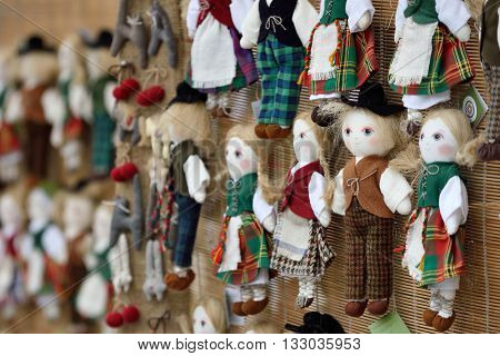 VILNIUS, LITHUANIA - MARCH 4: Traditional hand made toys in annual traditional crafts fair - Kaziuko fair on March 4, 2016 in Vilnius, Lithuania