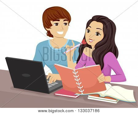 Illustration of a Teenage Couple Studying Together