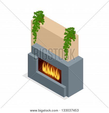 Fireplace modern design. Flat 3d isometric illustration