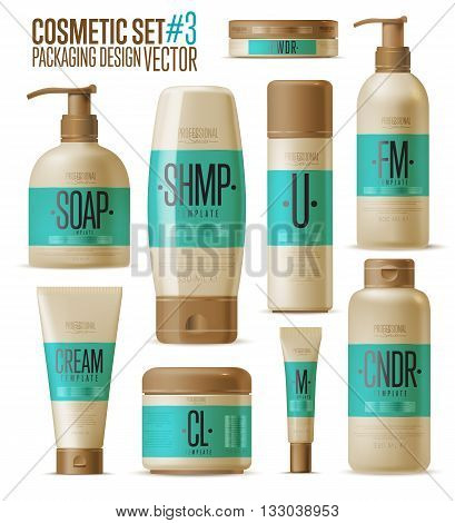 Cosmetic brand template. Vector packaging. Body care product. Oil, lotion or soap, shampoo, cream. Cosmetic cream. Realistic bottle mock up set. Isolated pack on white background. Cometic packaging. Plastic cosmetic bottle.