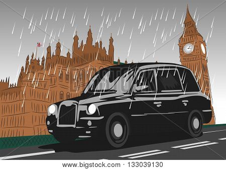 Black taxi cab moving on Westminster Bridge in the rain