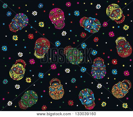 Day of the dead seamless pattern. Trendy style