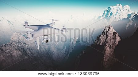 Photo White Matte Generic Design Modern Remote Control Drone with camera Flying in Sky under the Earth Surface. Grand Canyon Background. Horizontal, front top angle view. Film Effect. 3D rendering