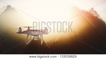 Photo White Matte Generic Design Modern Remote Control Drone with camera Flying in Sky under the Earth Surface. Grand Canyon Sunset Background. Horizontal, back angle view. Film Effect. 3D rendering