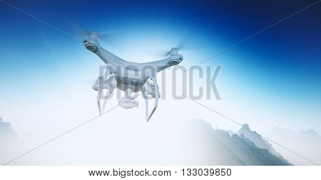 Photo White Matte Generic Design Modern Remote Control Drone with camera Flying in blue Sky under the Earth Surface. Grand Canyon Background. Horizontal, angle view. Film Effect. 3D rendering