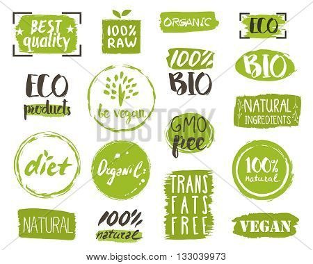 Healthy food icons, labels. Organic tags. Natural product elements. Logo for vegetarian restaurant menu. Vector illustration. Lactose free sign. Low fat stamp. Soy free. Eco product.