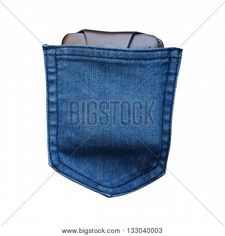 Money pocket in jean  pocket isolated on white color background