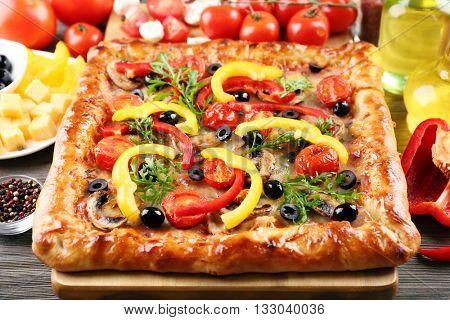 Freshly homemade pizza closeup